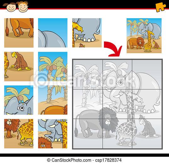 animaux, puzzle, puzzle, jeu, sauvage, dessin animé - csp17828374