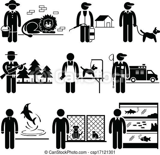 animaux, travaux, carrières, métiers - csp17121301