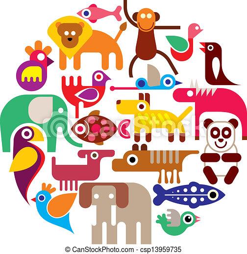 animaux, vecteur, -, rond, zoo - csp13959735