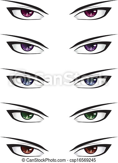 Eps Vector Of Anime Male Eyes Manga Style Different