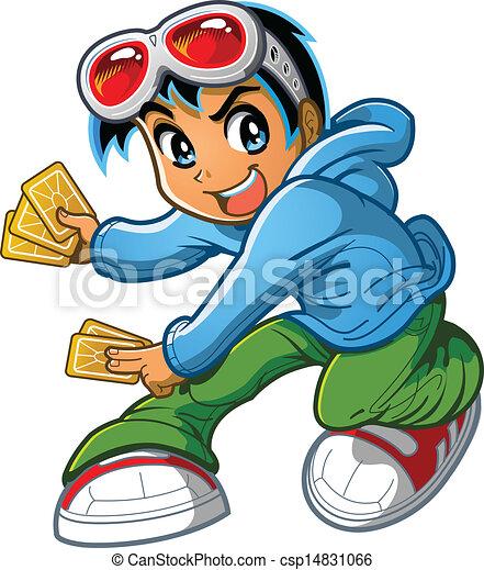 Anime Manga Boy Playing Card Game - csp14831066
