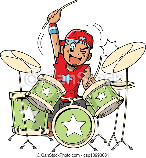 anime manga drummer fun anime and manga style cartoon drummer rocks rh canstockphoto com clipart drummer boy drum clipart black and white