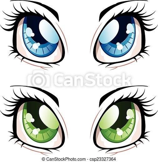 set of manga anime style eyes of different colors clip art vector rh canstockphoto com clipart animé pour powerpoint clipart animé anniversaire