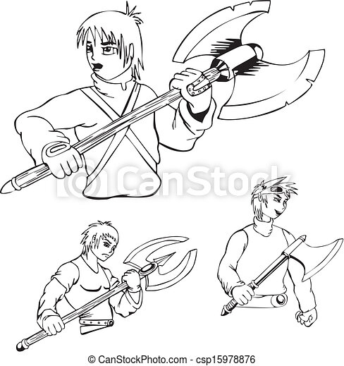 anime warriors with poleaxe set of black and white outline vector