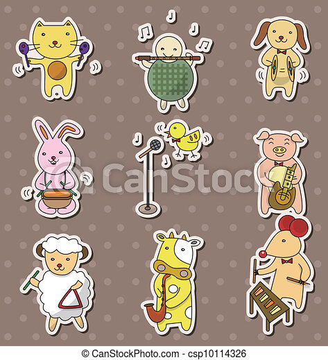 animla play music stickers - csp10114326