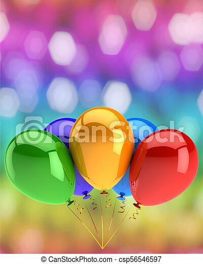 aniversário, aniversário, cinco, convite, partido, balões, comemorar, feliz - csp56546597