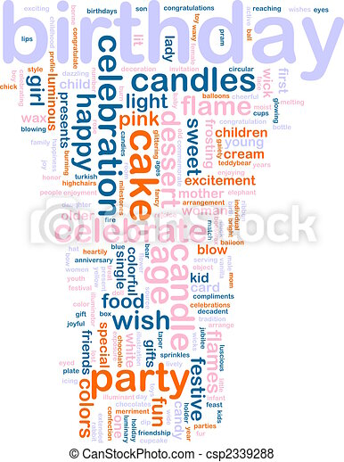 aniversário, palavra, nuvem - csp2339288