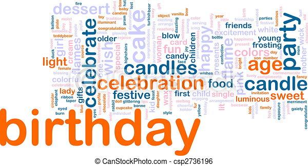 aniversário, palavra, nuvem - csp2736196