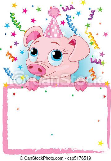 aniversário, porquinho - csp5176519