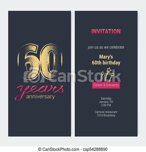 Tarjeta De Vector De Invitación De 60 Años De Aniversario