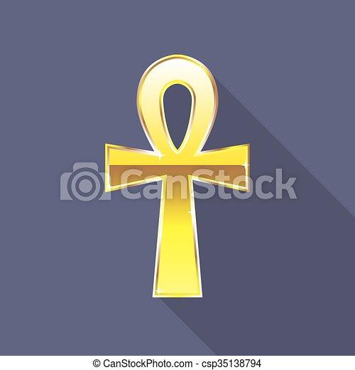 Ankh Egyptian Cross Golden  - csp35138794