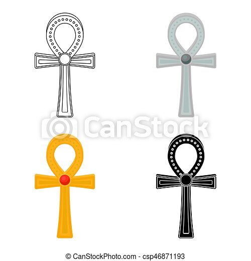 Ankh Icon In Cartoon Style Isolated On White Background Eps