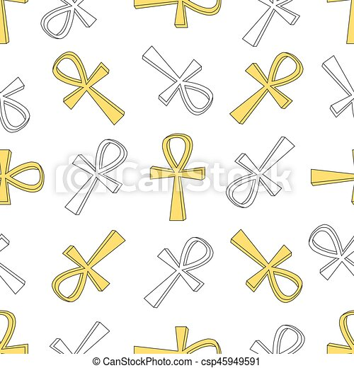 Ankh Symbol Pattern Vector Egyptian Cross Pattern Isolated On White