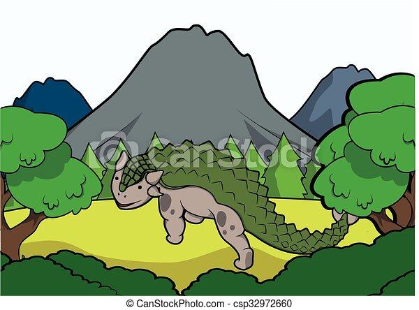 anklysaurus Prehistoric scene - csp32972660