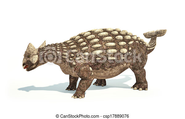 Ankylosaurus Dinosaur photorealistic and scientifically correct representation. Dynamic posture. On white background with drop shadow. Clipping path included. - csp17889076