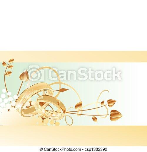 anneaux, carte or, mariage - csp1382392