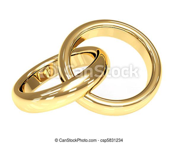Anneaux Mariage Or Objets Sur Deux Rings Mariage Blanc 3d Canstock