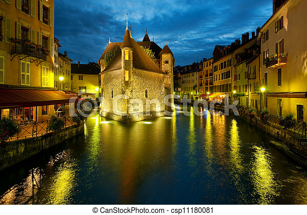 Annecy at night - csp11180081