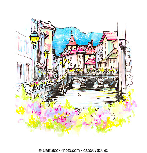 Annecy, called Venice of the Alps, France - csp56785095