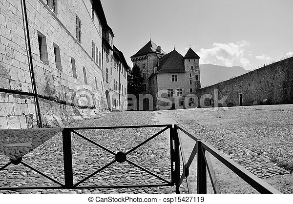 Annecy castle in b&w - csp15427119