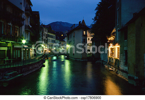 Annecy city by night, Savoy, France - csp17806900