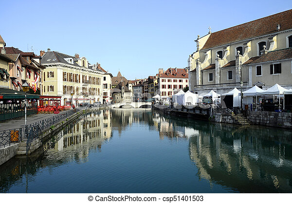Annecy city, Thiou canal and Art market, Savoy, France - csp51401503