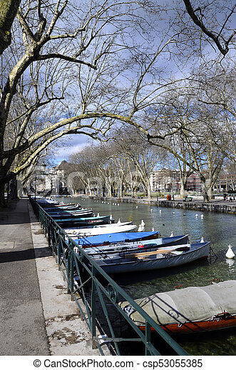 Annecy city, Thiou canal and boats,, Savoy, France - csp53055385