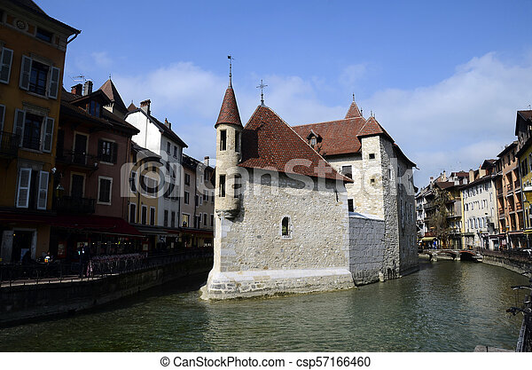 Annecy city, Thiou canal and old prison, Savoy, France - csp57166460