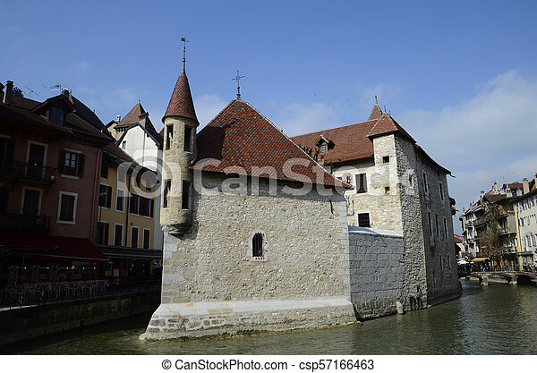 Annecy city, Thiou canal and old prison, Savoy, France - csp57166463