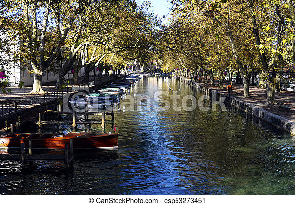 Annecy city, Thiou canal, Savoy, France - csp53273451
