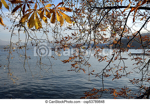 Annecy lake and autumn foliage - csp53789848
