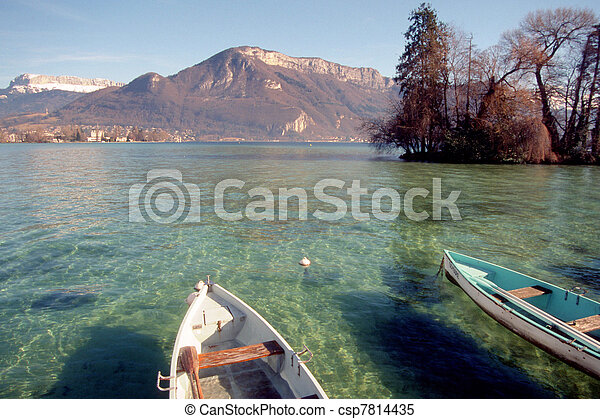 Annecy lake and boats - csp7814435