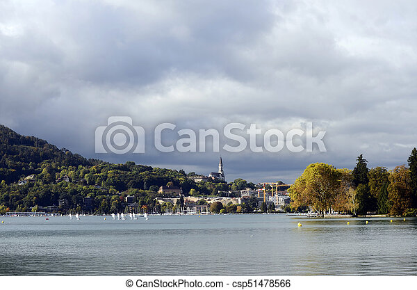 Annecy lake and city, autumn landscape - csp51478566
