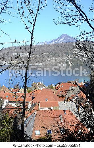 Annecy lake and Duingt village, Savoy, France - csp53055831