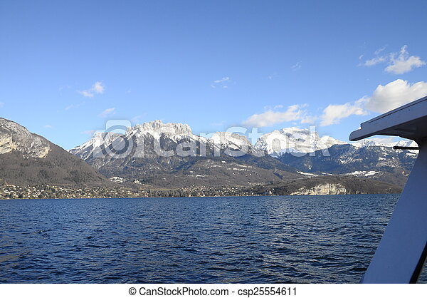 Annecy Lake and mountains - csp25554611