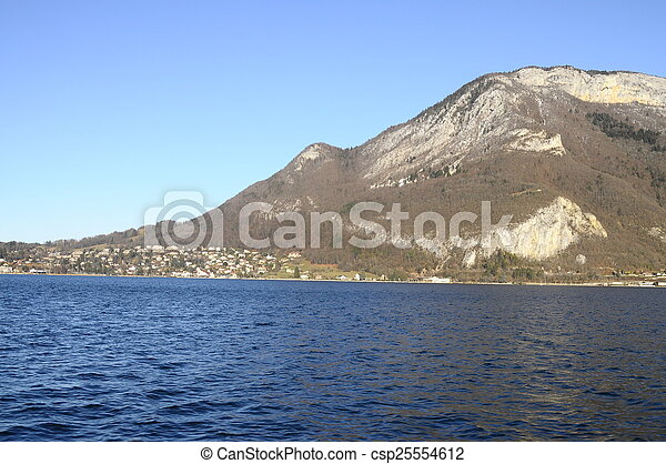 Annecy Lake and mountains - csp25554612