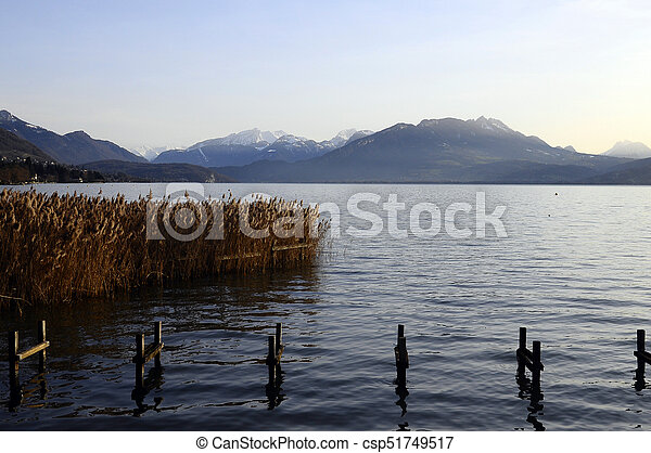 Annecy lake and mountains - csp51749517