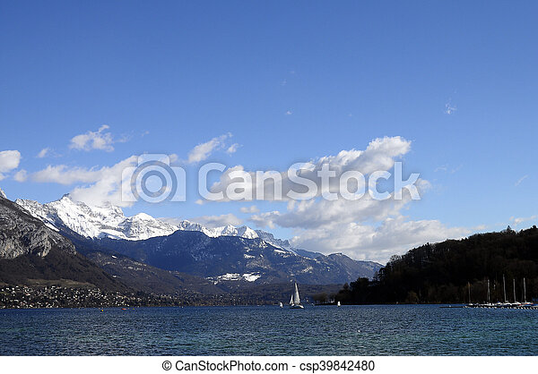 Annecy Lake and mountains - csp39842480