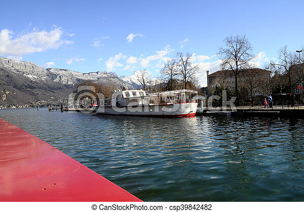 Annecy Lake and mountains - csp39842482