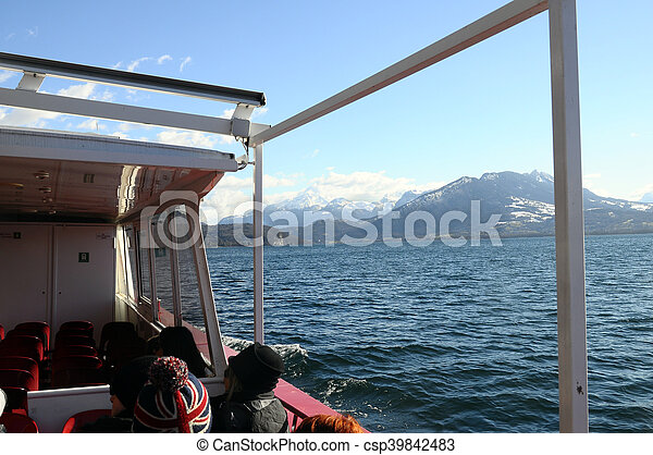 Annecy Lake and mountains - csp39842483