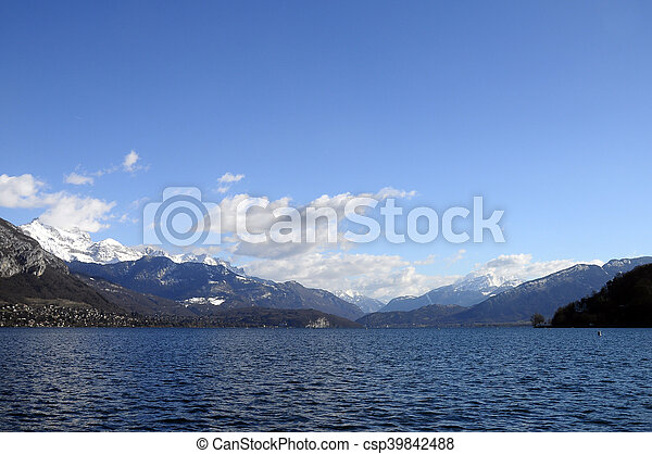 Annecy Lake and mountains - csp39842488