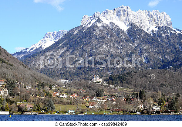 Annecy Lake and mountains - csp39842489