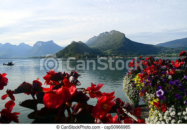 Annecy lake and mountains - csp50966985