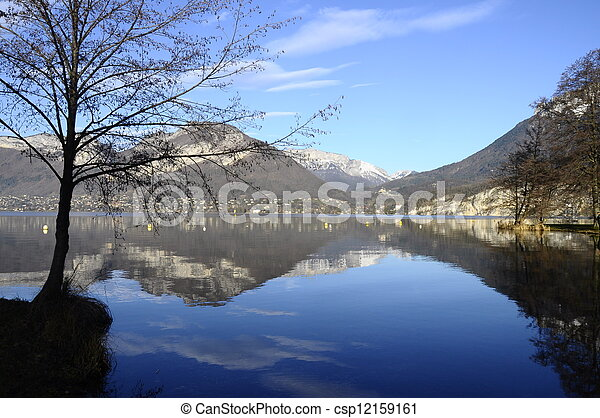 Annecy lake and mountains - csp12159161