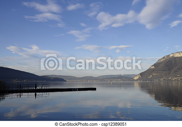 Annecy lake and mountains - csp12389051