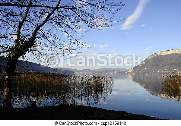 Annecy lake and mountains - csp12159140
