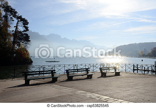 Annecy lake and mountains - csp53825545