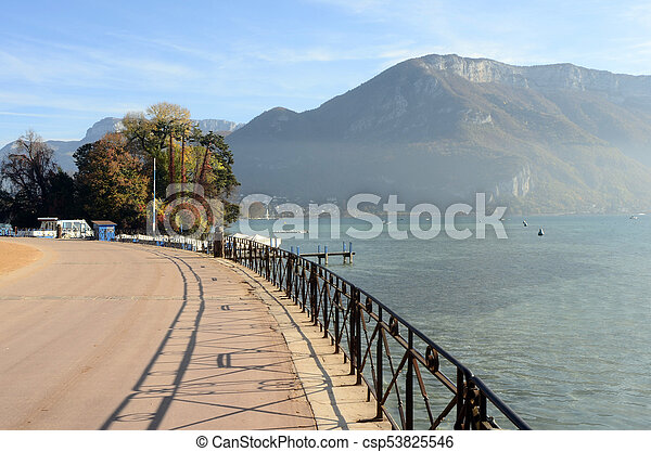 Annecy lake and mountains - csp53825546