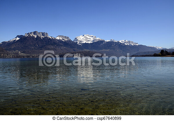 Annecy lake and mountains - csp67640899
