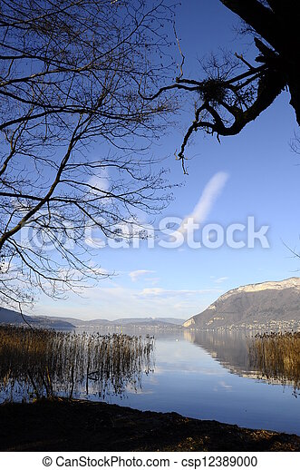 Annecy lake and mountains - csp12389000